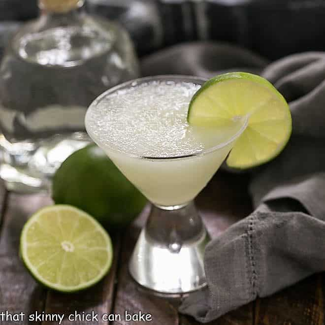 Easy 3-Ingredient Margarita in a small martini glass garnished with lime