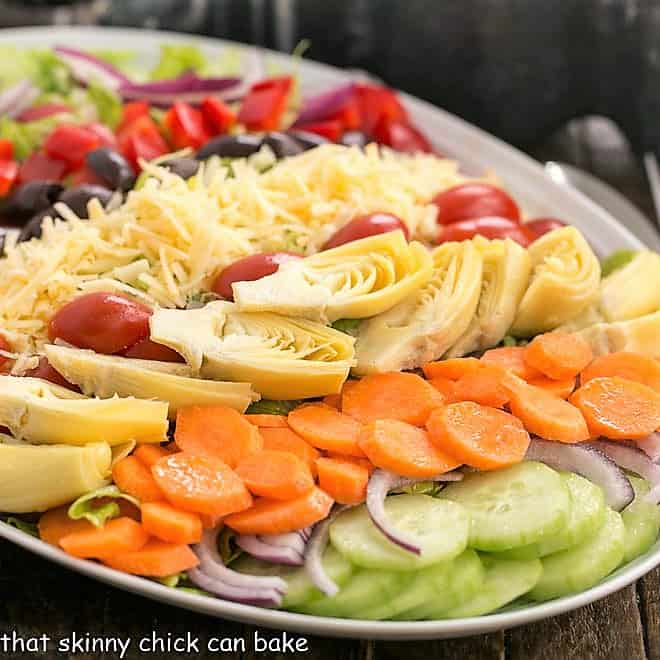 Kitchen Sink Chopped Salad on an oval white platter