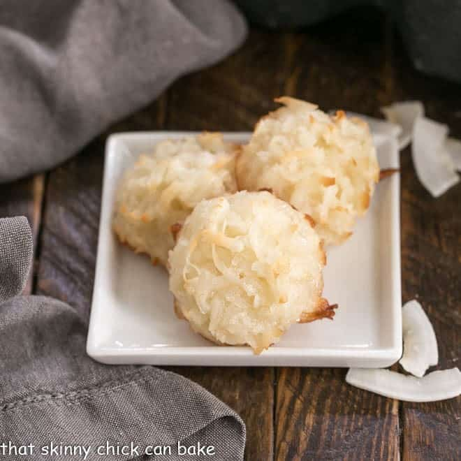 Coconut Macaroons on a square white plate