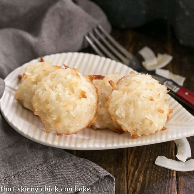 Coconut Macaroons on a leaf shaped white plate