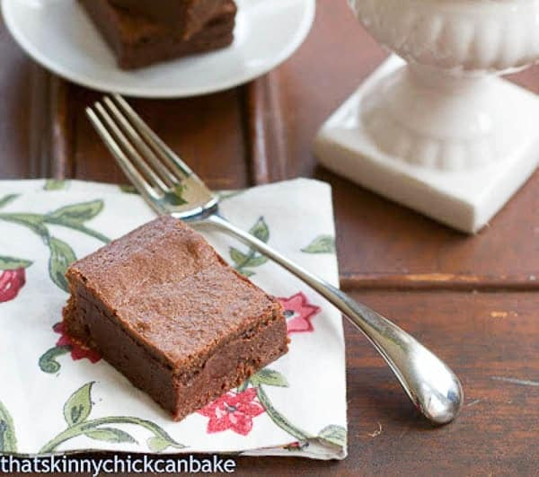 Best-Ever Brownies square on a floral napkin