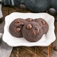 Chocolate cookies on a square white plate