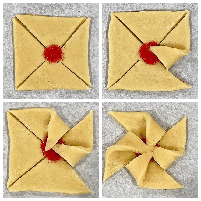 How to fold poinsettia cookies image collage