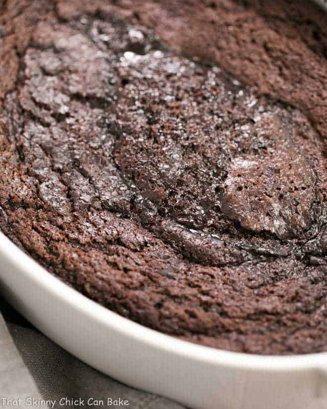 Hot Fudge Pudding Cake in a white oval baking dish