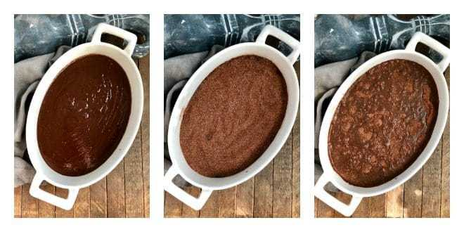 Hot Fudge Pudding Cake collage of steps to layer dessert