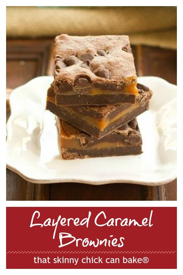 Layered caramel brownies photo and text collage