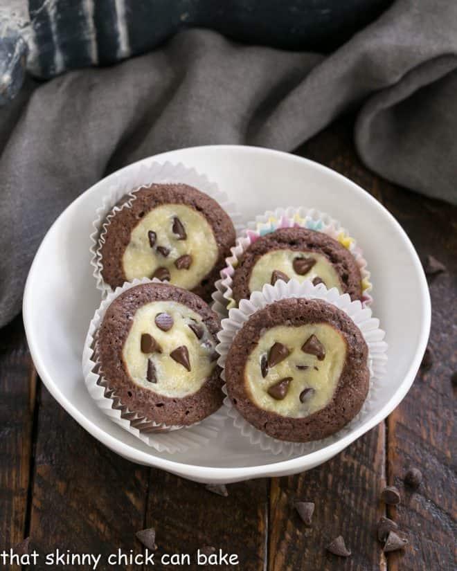 Mini chocolate cupcakes in a white bowl