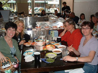 Gathering of my sisters at a sushi bar in Seattle
