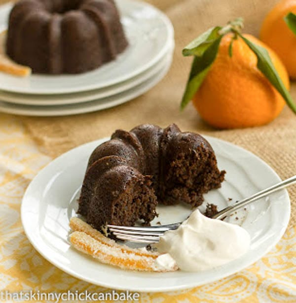 Gingerbread Baby Cakes | Mini holiday cakes garnished with candied orange peel