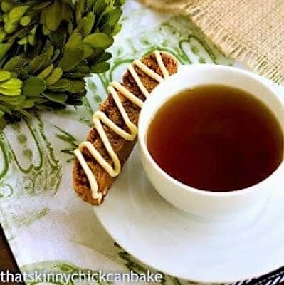 Gingerbread Biscotti on a teacup saucer