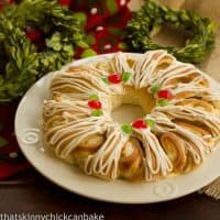 Holiday Cream Cheese Tea Roll on a white plate