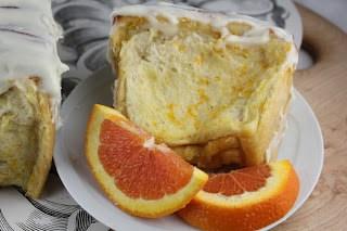 Slice of orange coffee cake