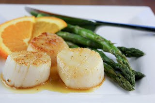 Scallops withCaramel Orange Sauce