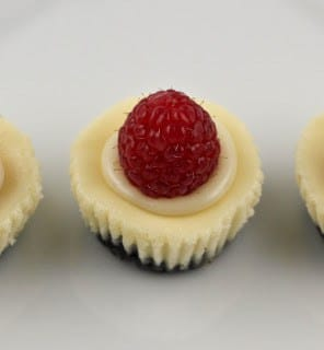 A mini white chocolate cheesecake with a raspberry on top