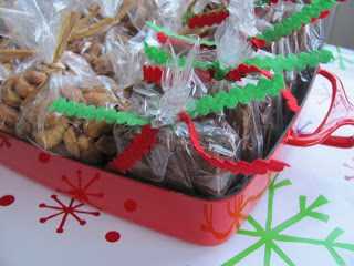 Packaged brownies for my holiday book club meeting