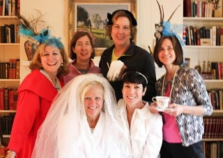 A group of friends celebrating the royal wedding