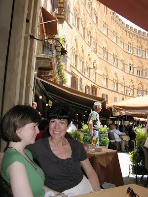 In Sienna, Italy, eating lunch