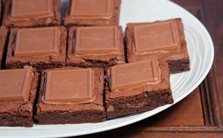 Close view of a platter of Caramel Brownies