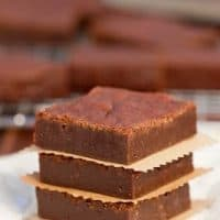 Stack of one bowl fudgy brownies