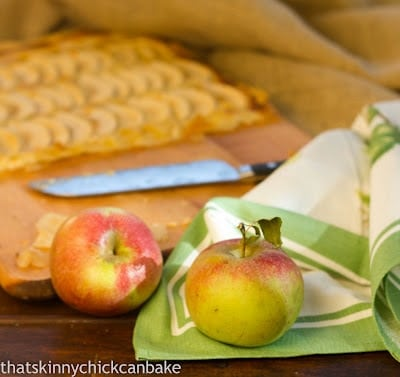 Two apples on a decorative white and green hand towel.