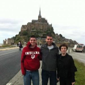 My 3 children with Mont Saint-Michel in the background