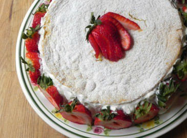 Overhead view of summer strawberry cake