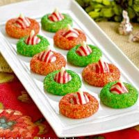 Candy Cane Blossoms on a white tray