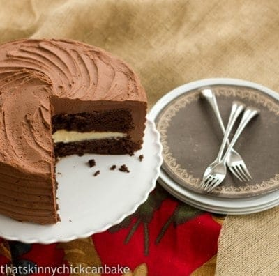 Chocolate Layer Cake filled with White Chocolate Ganache