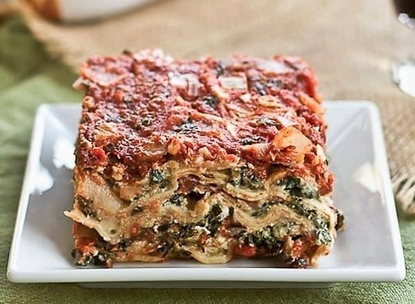 Spinach Lasagna on a white plate