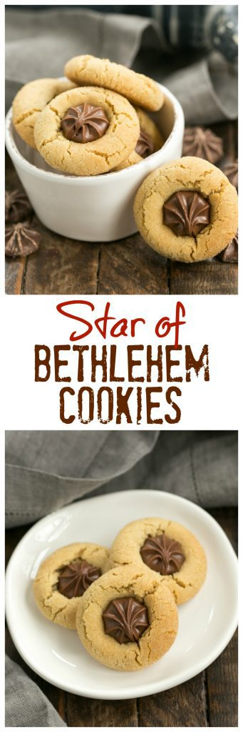 Star of Bethlehem Cookies AKA Peanut Blossoms | The classic peanut butter cookie topped with a chocolate star for the holidays!