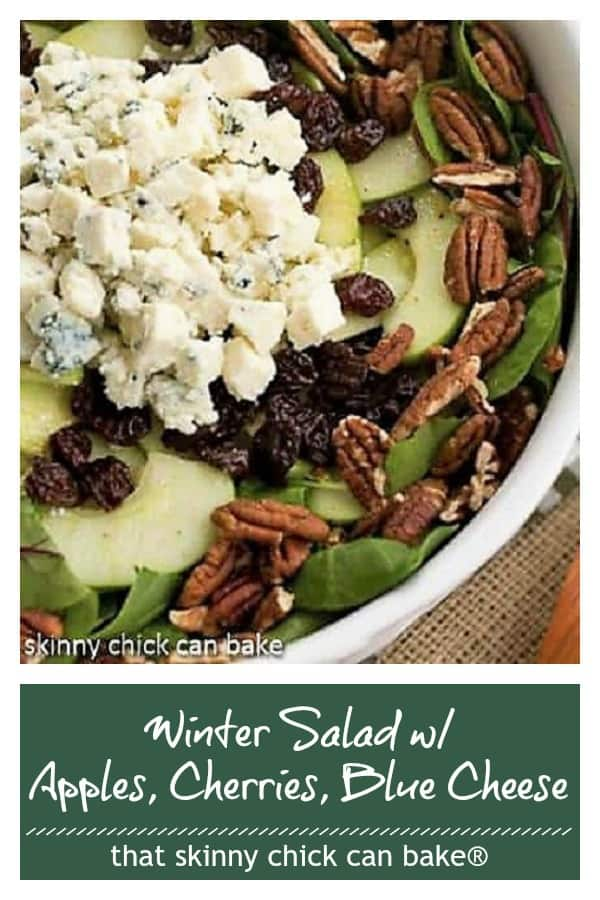 Loaded Winter Salad with Apples, Pecans, Blue Cheese and Dried Cherries pin collage