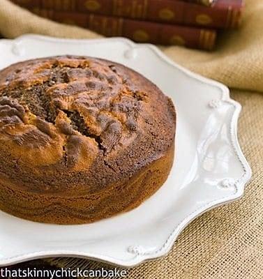 Zebra Cake on a cake plate