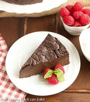 Flourless Chocolate Kahlua Cake - a rich, dense chocolate cake enhanced by coffee liqueur