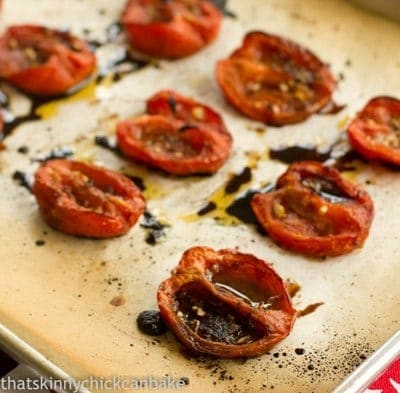 Roasted tomatoes on a sheet pan