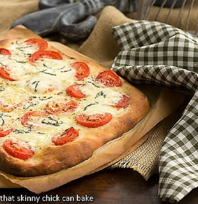 Classic Pizza Dough used in a pizza margherita on a pizza board