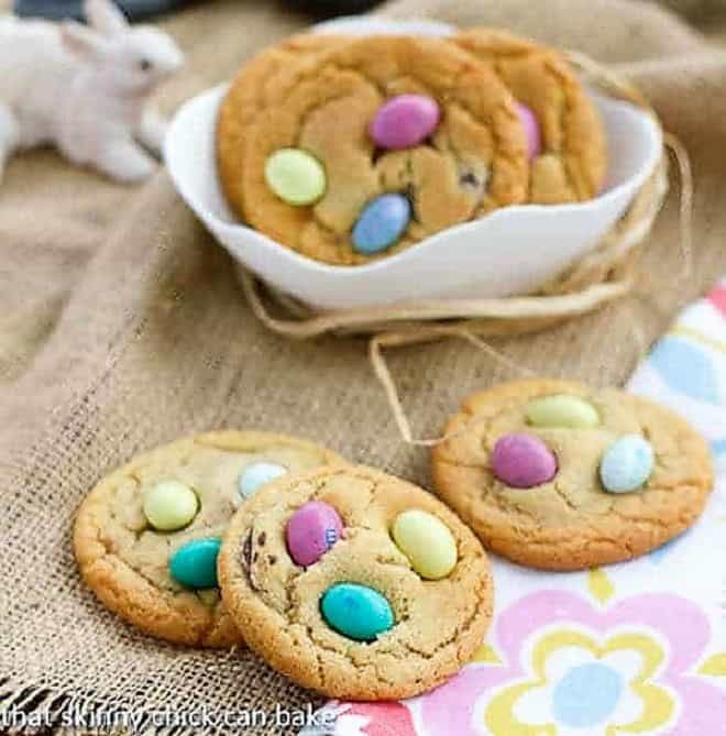Easter Egg Cookies on a spring floral napkin and in a white bowl