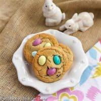 Easter Egg Cookies on a white ceramic dessert plate