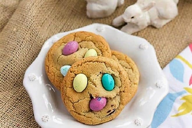 Easter Egg Cookies on a white ceramic dessert plate
