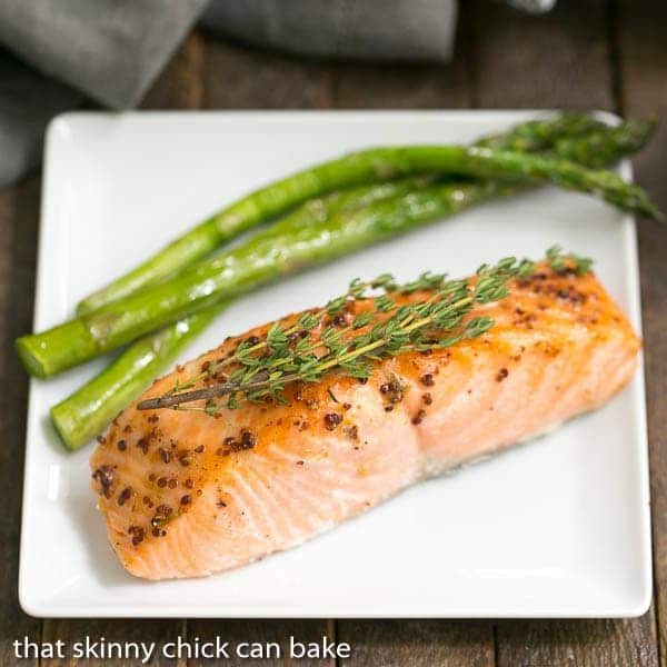Maple Mustard Glazed Salmon on a white square plate
