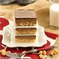 Stack of Peanut butter Rice Krispie Treats on a white plate