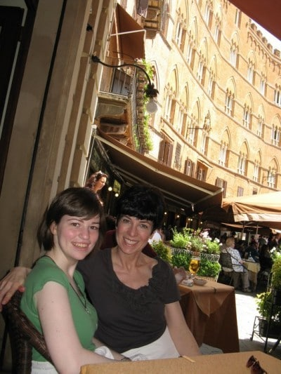Katie and I at a restaurant at the city center of Sienna, Italy
