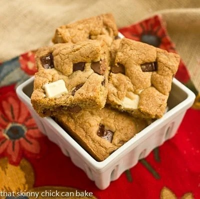 Brown Butter Chocolate Chunk Bars in a square ceramic bowl