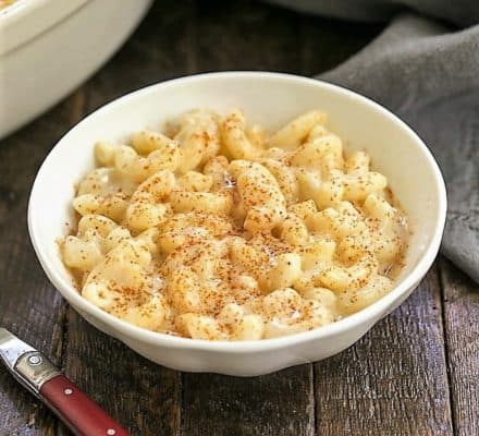 Classic Macaroni and cheese in a white bowl