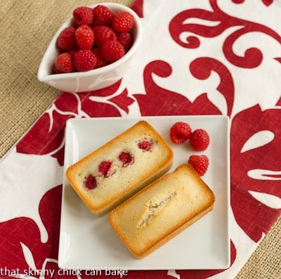 Vanilla Financiers with Raspberries