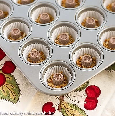 Mini Rolo Cheesecakes before batter is added to the muffin tin