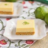 Key Lime Bars on square white plates