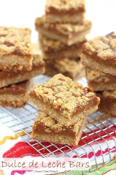 Dulce de leche bars recipe squares on a cooling rack