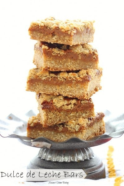 Dulce de leche bars recipe stacked on a metal serving dish