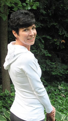 Me modeling white workout jacket