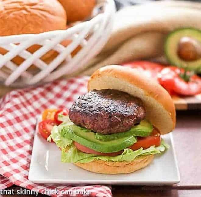 California Burgers on a white plate